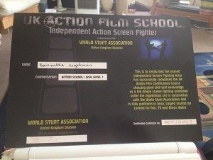 UK ACTION FILM SCHOOL INDEPENDANT ACTION SCREEN FIGHTER HELD BY ZARA PHYTHIAN